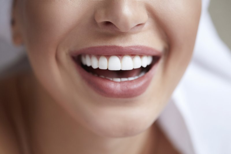 an up-close view of a person's smile after seeing a cosmetic dentist in McComb
